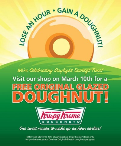 Free Krispy Kreme Doughnut on Sunday (3/10/13) at Participating Locations